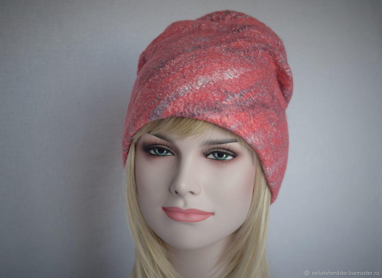 Шапка валяная женская.Теплая шерстяная шапка бини коралловая, Шапки, Бердск, Фото №1