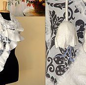 """Аксессуары ручной работы. Ярмарка Мастеров - ручная работа Валяная шаль- """"Ажурная"""" белая тюльпаны. Handmade."""