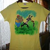 "Одежда handmade. Livemaster - original item T-shirt ""Nu, pogodi!"", hand-painted. Handmade."