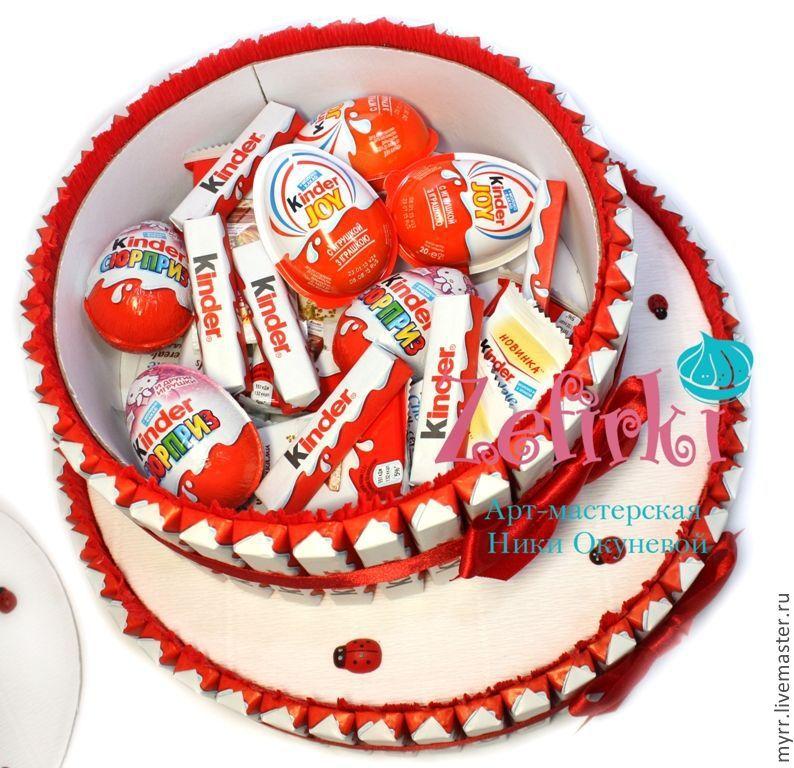 Подарок из конфет и киндеров 10