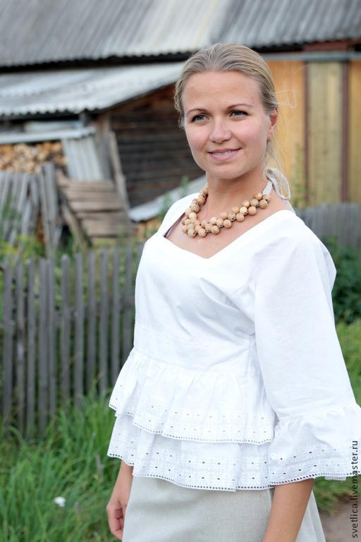 Блузки ручной работы. Ярмарка Мастеров - ручная работа. Купить Блуза белая с шитьём. Handmade. Блузка, летняя блузка