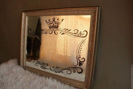 Зеркала ручной работы. Ярмарка Мастеров - ручная работа. Купить состаренное зеркало. Handmade. Серебряный, зеркало настенное