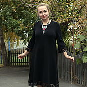 "Одежда handmade. Livemaster - original item Knitted dress ""Little black dress with lace"". Handmade."