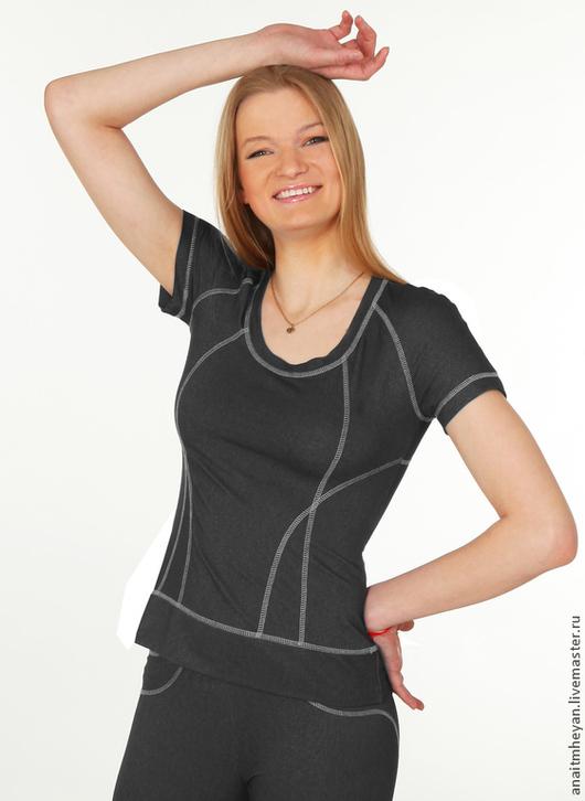 """Спортивная одежда ручной работы. Ярмарка Мастеров - ручная работа. Купить Футболка """"Jeans line"""" черная. Handmade. Черный, футболка"""