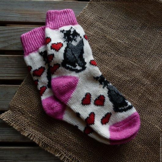 Носки, Чулки ручной работы. Ярмарка Мастеров - ручная работа. Купить Носки позитивные веселые с рисунком кошечки. Handmade. Комбинированный