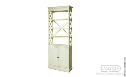 Мебель ручной работы. Ярмарка Мастеров - ручная работа. Купить Деревянный стеллаж 230 см. на подиуме с дверками в стиле прованс. Handmade.