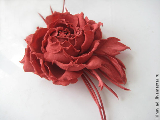 Silk flowers decoration brooch pin rose rosso natural silk shop fabric flowers silk flowers brooch silk flower red rose coral rose mightylinksfo