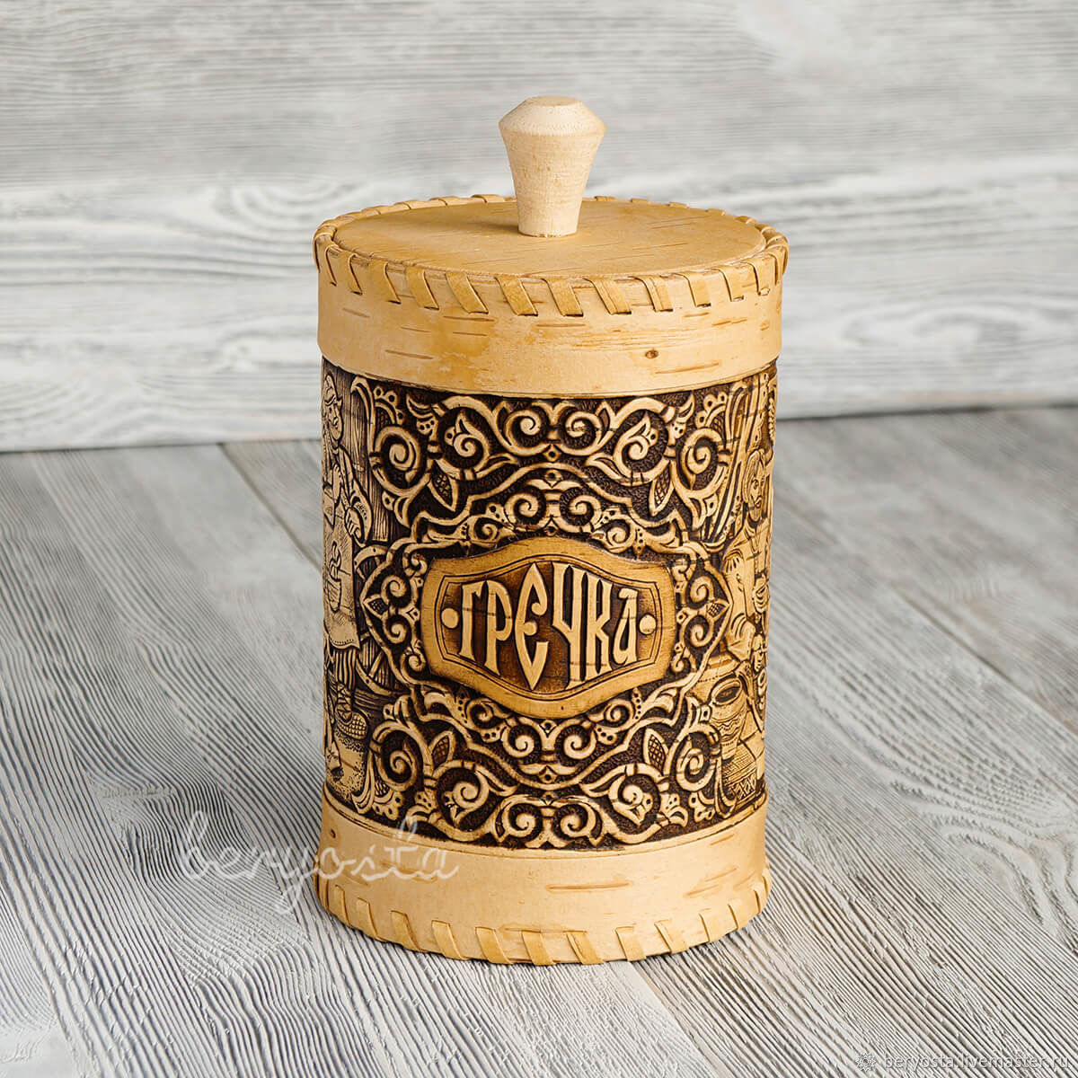 Box of birch bark for buckwheat. Rustic dishes as a gift, Ware in the Russian style, Novosibirsk,  Фото №1