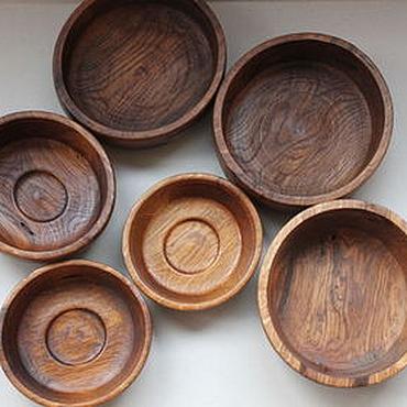 Посуда ручной работы. Ярмарка Мастеров - ручная работа Набор из 6 деревянных мисок-тарелок из дуба. (6). Handmade.