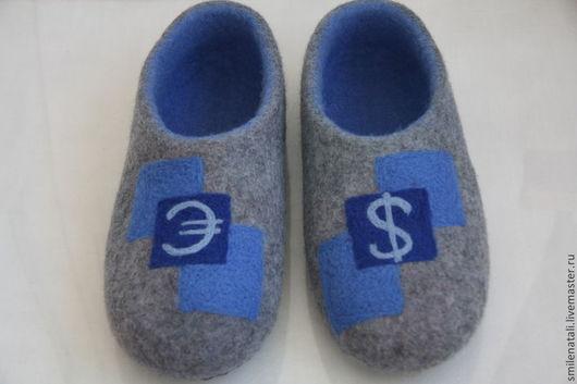 """Обувь ручной работы. Ярмарка Мастеров - ручная работа. Купить Мужские тапочки """"Денежный вопрос"""". Handmade. Серый, 100% шерсть"""