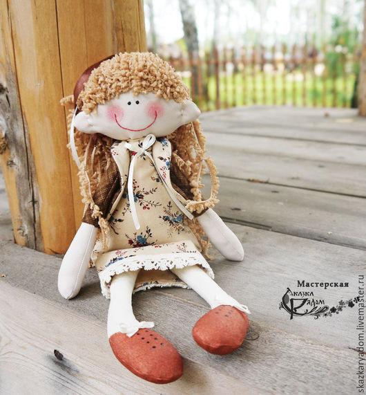 Человечки ручной работы. Ярмарка Мастеров - ручная работа. Купить Кукла Кудряшка. Handmade. Коричневый, текстильная кукла, куколка