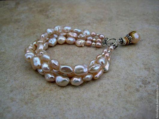 Браслеты ручной работы. Ярмарка Мастеров - ручная работа. Купить Браслет Baroque pearl жемчуг серебро. Handmade. Многорядный браслет