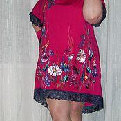 """Одежда ручной работы. Ярмарка Мастеров - ручная работа вышитое платье """"ЦВЕТЫ В МАЛИНОВКЕ""""лен летнее. Handmade."""
