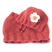 Работы для детей, handmade. Livemaster - original item Knitted Hat and Snood for girls, coral. Handmade.