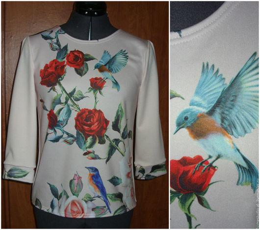 """Кофты и свитера ручной работы. Ярмарка Мастеров - ручная работа. Купить Блузка """"Красные розы"""". Handmade. Бледно-розовый, кофточка"""