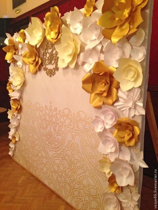 Свадебные цветы ручной работы. Ярмарка Мастеров - ручная работа. Купить Цветы из бумаги для пресс-волла. Handmade. Цветы из бумаги
