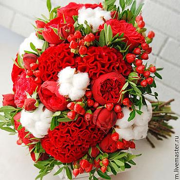 Свадебный салон ручной работы. Ярмарка Мастеров - ручная работа Красный букет невесты с пионовидными розами. Handmade.
