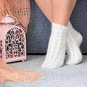 Аксессуары handmade. Livemaster - original item Socks: Openwork downy socks for women. Handmade.