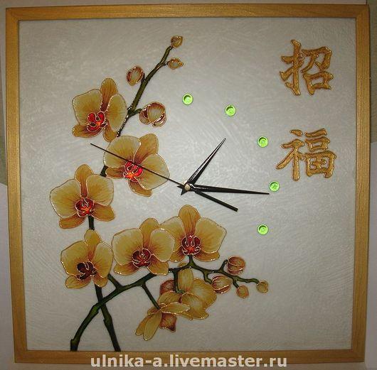 Часы для дома ручной работы. Ярмарка Мастеров - ручная работа. Купить Часы настенные Орхидеи. Handmade. Часы, орхидеи, gjlfhjr