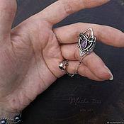 Украшения handmade. Livemaster - original item Violet Ray, silver ear cuff and stud with natural gemstones. Handmade.