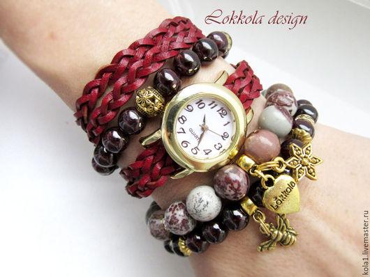 """Браслеты ручной работы. Ярмарка Мастеров - ручная работа. Купить Часы """"Пчелка"""". Handmade. Бордовый, часы наручные, часы браслет"""