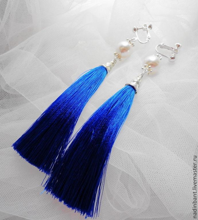 Clips Blue Tassels with Swarovski, Tassel earrings, St. Petersburg,  Фото №1