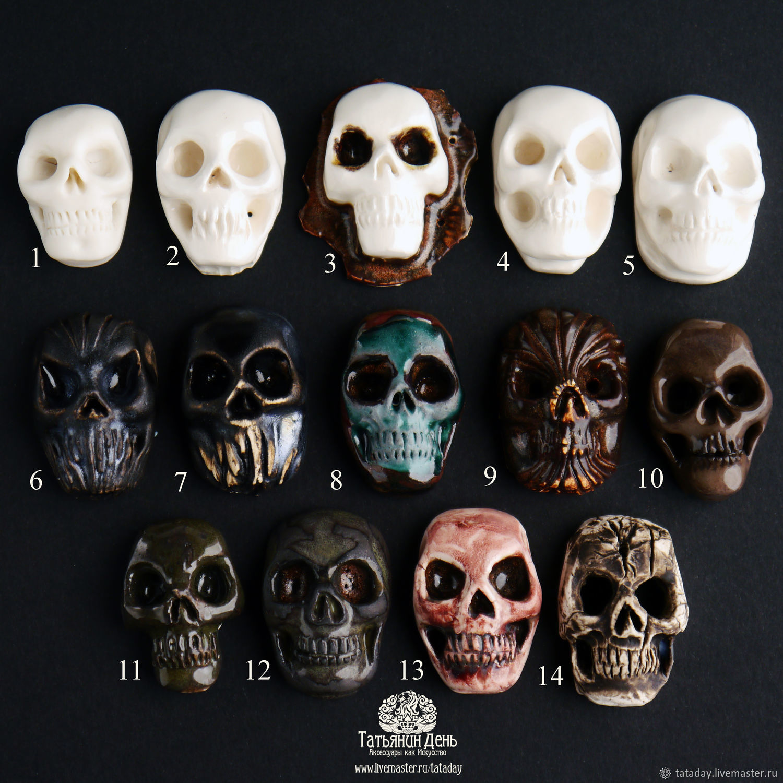 Ceramic skulls. Cabochons-ceramic skulls, Cabochons, St. Petersburg,  Фото №1