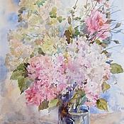 Картины и панно ручной работы. Ярмарка Мастеров - ручная работа Гортензия и розы. Handmade.