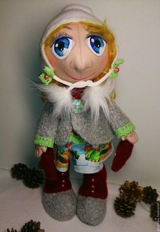 Куклы тыквоголовки ручной работы. Ярмарка Мастеров - ручная работа. Купить Текстильная кукла из серии Снежка. Handmade. Разноцветный, синтепух