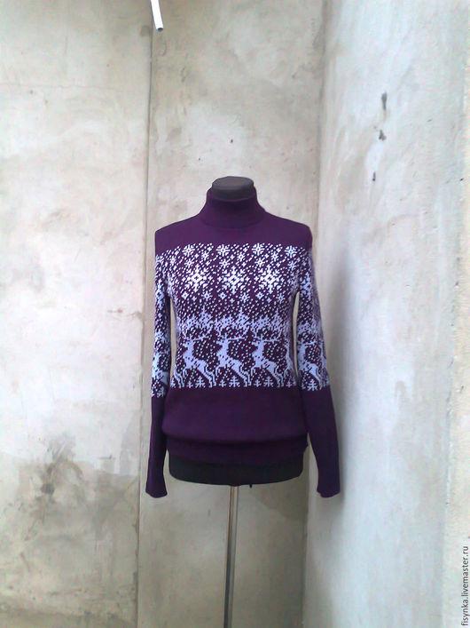Кофты и свитера ручной работы. Ярмарка Мастеров - ручная работа. Купить свитер с оленями. Handmade. Тёмно-фиолетовый, женская одежда
