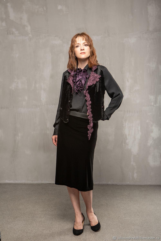 B_030 velvet straight Skirt, color black, Skirts, Moscow,  Фото №1