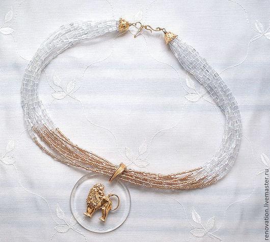 """Колье, бусы ручной работы. Ярмарка Мастеров - ручная работа. Купить №10 ожерелье с подвеской """"Versace"""". украшение из бисера. Handmade."""