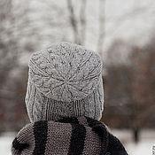 Аксессуары ручной работы. Ярмарка Мастеров - ручная работа Шапка вязаная серая с косами мужская / женская зимняя. Handmade.