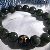 Bead bracelet handmade. Livemaster - original item Bracelet with jade and gold Dragon