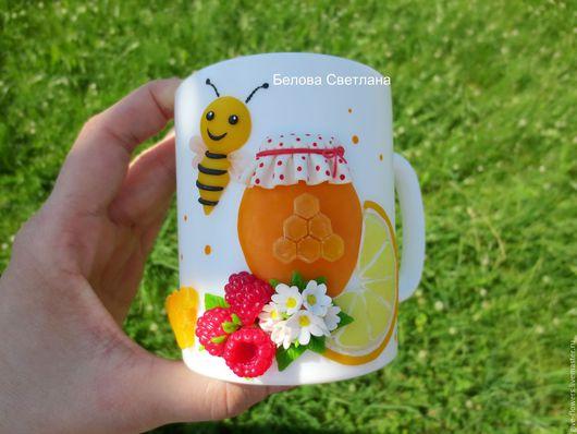 Кружки и чашки ручной работы. Ярмарка Мастеров - ручная работа. Купить Кружка ложка Вкусный чай с мёдом. Handmade. Оранжевый