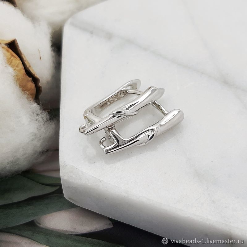 Earrings with a lock 18 mm rhodium plated. (4917), Schwenzy, Voronezh,  Фото №1