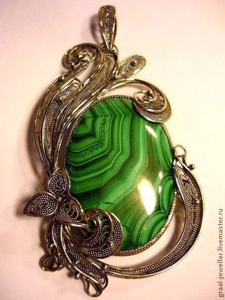 """Кулоны, подвески ручной работы. Ярмарка Мастеров - ручная работа. Купить Кулон и кольцо с малахитом """"Молитва"""". Handmade. Ярко-зелёный"""