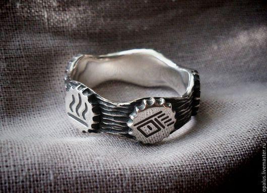 """Украшения для мужчин, ручной работы. Ярмарка Мастеров - ручная работа. Купить перстень """"Бубны шамана"""". Handmade. Серебряное кольцо"""