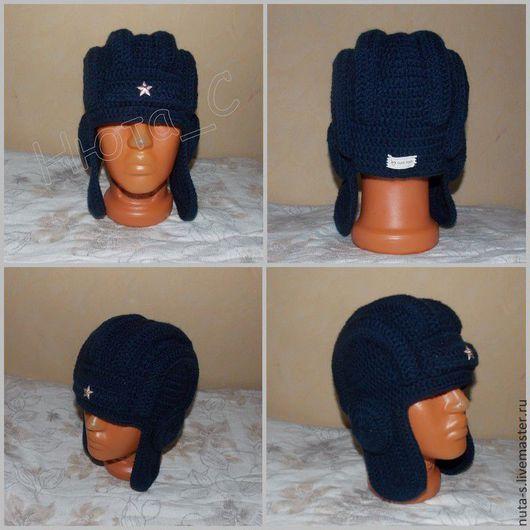 """Для мужчин, ручной работы. Ярмарка Мастеров - ручная работа. Купить Шапка мужская """"Шлем танкиста"""". Handmade. Серый, в подарок"""