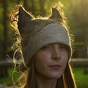 Аксессуары handmade. Livemaster - original item Felted hat with ears. Handmade.