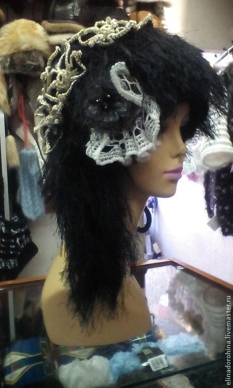 Шапки ручной работы. Ярмарка Мастеров - ручная работа. Купить шапочка эксклюзивная черная. Handmade. Черный, единственный экземпляр