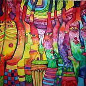 """Аксессуары ручной работы. Ярмарка Мастеров - ручная работа Шёлковый платок - панно  батик """"Греки"""". Handmade."""