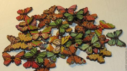 Другие виды рукоделия ручной работы. Ярмарка Мастеров - ручная работа. Купить Пуговки  бабочки. Handmade. Пуговица, деревянная пуговица