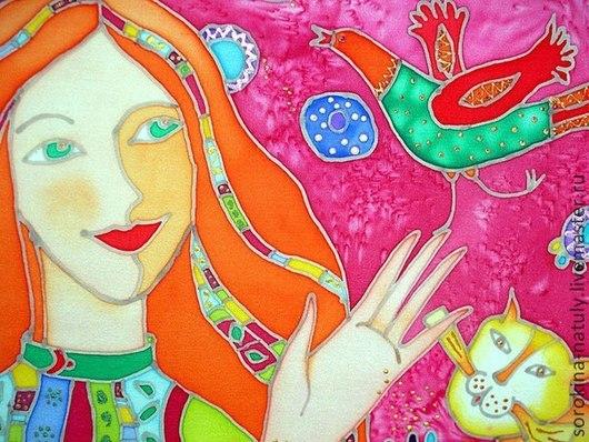 Картина батик Девочка с птичкой Сорокина Наталья