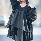 Одежда handmade. Livemaster - original item Black stylish tunic boxy - TU0425CT. Handmade.