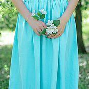 Одежда ручной работы. Ярмарка Мастеров - ручная работа Мятная, голубая трикотажная юбка на лето,весна,осень, макси,миди,мини. Handmade.