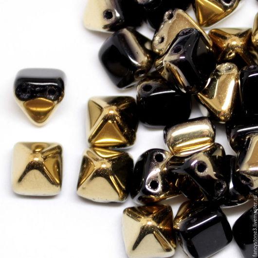 Для украшений ручной работы. Ярмарка Мастеров - ручная работа. Купить 15шт Чешские бусины Пирамидки 6мм, Amber-Jet Pyramids Czech beads. Handmade.