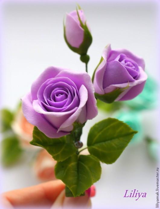 Свадебные украшения ручной работы. Ярмарка Мастеров - ручная работа. Купить бутоны роз лиловые для украшения прически. Handmade. Сиреневый