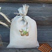 Для дома и интерьера handmade. Livemaster - original item Linen bag with painting... Three nuts...... Handmade.