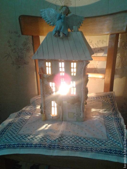 Освещение ручной работы. Ярмарка Мастеров - ручная работа. Купить Светильник с ангелочком .. Handmade. Замок, для дома и интерьера, ангобы
